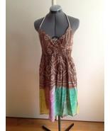 Vintage Havana Boho Summer Cotton Tie Halter Brown with Multi Colors Dre... - $24.09