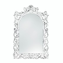 Decorative Wall Mirrors, Unique Contemporary Art Etched White Ornate Wal... - $46.33