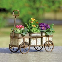 Farmhouse Wagon Pot Planter Rustic Metal Garden Basket Flower 6''H - $56.00
