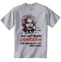 Albert Einstein Gravitation Quote - New Cotton Grey Tshirt - $23.59
