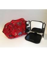 Travel Cosmetic Purse Portable 3 Way Vanity Mirror Fabric Floral Makeup ... - $35.00