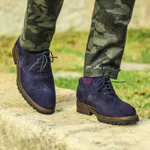 Handmade Mens blue full brogue wingtip suede shoes, Men blue suede leather shoes - $169.99