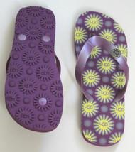 Ugg Australia Purple Yellow Sun Thong Flip Flops Beach Summer Flats 7 Free Ship - $89.97