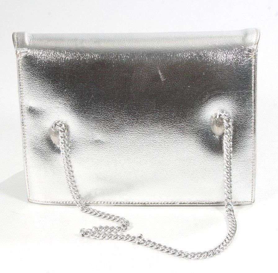Vintage 1950's Creations By Intl Shiny Silver Flap Evening Cocktail Party Bag