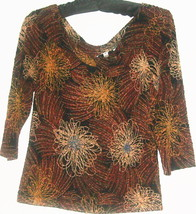 WOMEN'S BLACK PRINTED KEY HOLE NECK TOP SIZE SP - $6.00