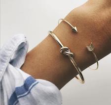 2Pcs/Set Fashion Women Cute Gold Arrow Knot Bangle Opening Adjustable Br... - $23.80