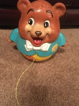 Vintage Fisher Price Roly Chubby Cub Bear Toy Chime Pull String 1969 - $14.73