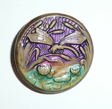 """Beautiful Hand Painted Dragonfly Art Stone Round Shank Button 1-5/16"""" Lt... - $13.49"""