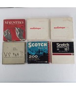 Vintage Lot 6 Magnetic Recording Tape Reels Audiotape Maestro Scotch Blank - $49.45