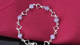 925 Sterling Silver Bracelet with Top Quality Zircon DL2 image 4