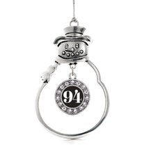 Inspired Silver Number 94 Circle Snowman Holiday Christmas Tree Ornament With Cr - $14.69