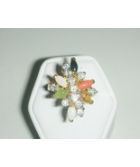Australian Moonstone and Swarovski Crystal Ladies  Ring Size 8 - $25.00