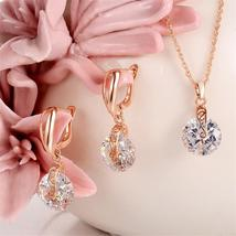 High Quality Necklace Earrings Jewelry Set Golden Plated Round Crystal C... - $5.16