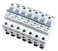 LOT OF 7 ALLEN BRADLEY 1492-SP MINI CIRCUIT BREAKERS SER C, 1POLE