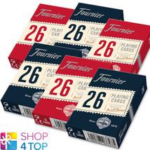 6 DECKS FOURNIER 26 PLASTIC COATED BRIDGE PLAYING CARDS 3 RED 3 BLUE STA... - $27.12