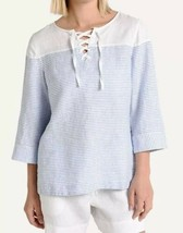 Tommy Bahama Womens Crystalline Waters Lace Up Linen Top Blue Stripe Siz... - $31.79