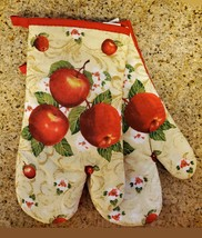 """Oven Mitts, Set of 2, Red Apple Blossom design, Large 13"""", Cotton Kitchen Linens"""
