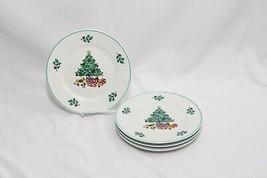 """Gibson Xmas Tree Holly Salad Plates 8"""" Set of 4 - $31.85"""