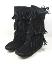 """Minnetonka Moccasin Boots Women's Sz 8 Black Suede Leather 12.5"""" High (t... - $34.00"""