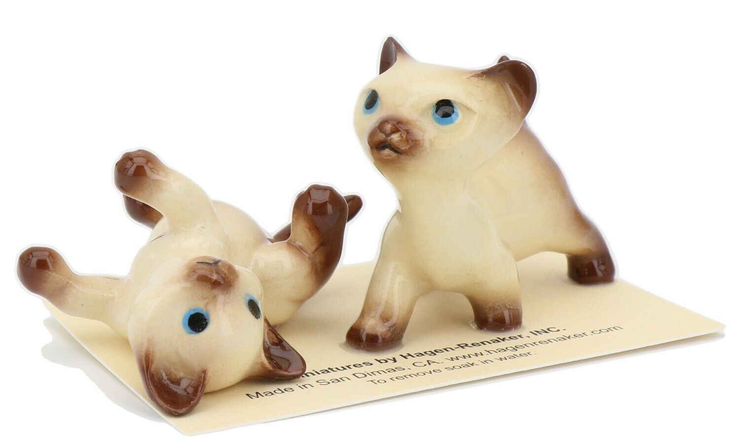Hagen Renaker Specialty Cat Siamese Kittens - 2 Piece Ceramic Figurine Set