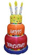 Inflatable 6 Foot Tall Happy Birthday with Candles Light Up Yard Display... - $247.49