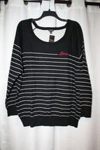 Cute New Torrid Womens Plus Size 5X 5 Black & Red Love Striped Sweater Shirt Top - $29.02