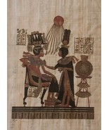 The Throne of King Tutankhamun Queen Ankhesenam Egypt Kemet Papyrus Art ... - $346.49