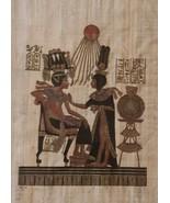 The Throne of King Tutankhamun Queen Ankhesenam Egypt Kemet Papyrus Art ... - $350.61