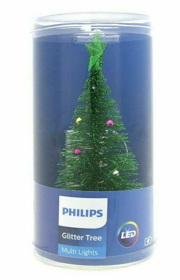 """Philips Battery Operated 7"""" Green Glitter Multicolored LED Lights Christmas Tree"""