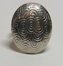 Custom Vintage SOLID 925 Sterling Silver Modernist Oval Size 5.5 Ring 7.5 Grams - $26.71