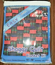 "Fleece Blanket Making Kit Red Plaid Zippered Case 51"" x 58"" Easy Shaggy ... - $16.82"