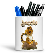 Personalised Any Text Name Ceramic tiger Pencil Pot Gift Idea Kids Adult... - $12.89