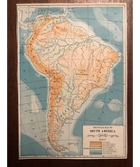 """Vintage Color Physical Map of SOUTH AMERICA Print Plate 5.75"""" x 8"""" Unframed - $14.00"""