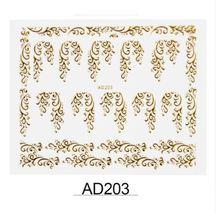 "HS Store - 1 pcs Gold Metal ""AD203"" 3D Dazzling Nail Art Sticker DIY  - $2.69"