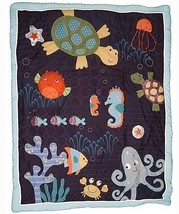 Lambs & Ivy Bubbles and Squirt Baby Unisex Navy Blue Crib Bedding Blanke... - $37.04