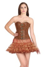 Printed Brown Soft Leather Gothic Overbust & Tissue Tutu Skirt Corset Dress - $89.09+