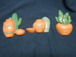 1991 Home Interiors Set of 3 Southwest Plaques Cactus & Pots - $8.75