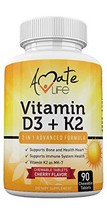 Amate Life Vitamin K2 D3 Supplement - Vitamin D3+K2(MK7) Chewable for Bo... - $11.99