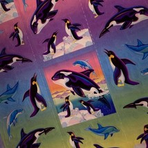 VINTAGE Lisa Frank FULL EXCELLENT Sticker Sheet 90s ORCAS WHALES Sea Ocean S269 image 2