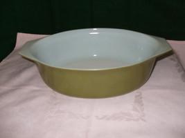 "Vintage Pyrex Oval 2 1/2 Qt  Covered Casserole ""Verde""--#045 - $26.00"