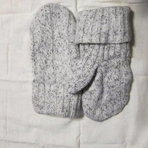 Recycled Handmade Wool Ladies Teens Mittens White/Black Size M/L - $19.80