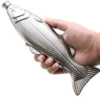 Fish Shape Stainless Steel Hip Flask Silver 4oz Alcohol Liquor Whiskey Pocket - $25.99+