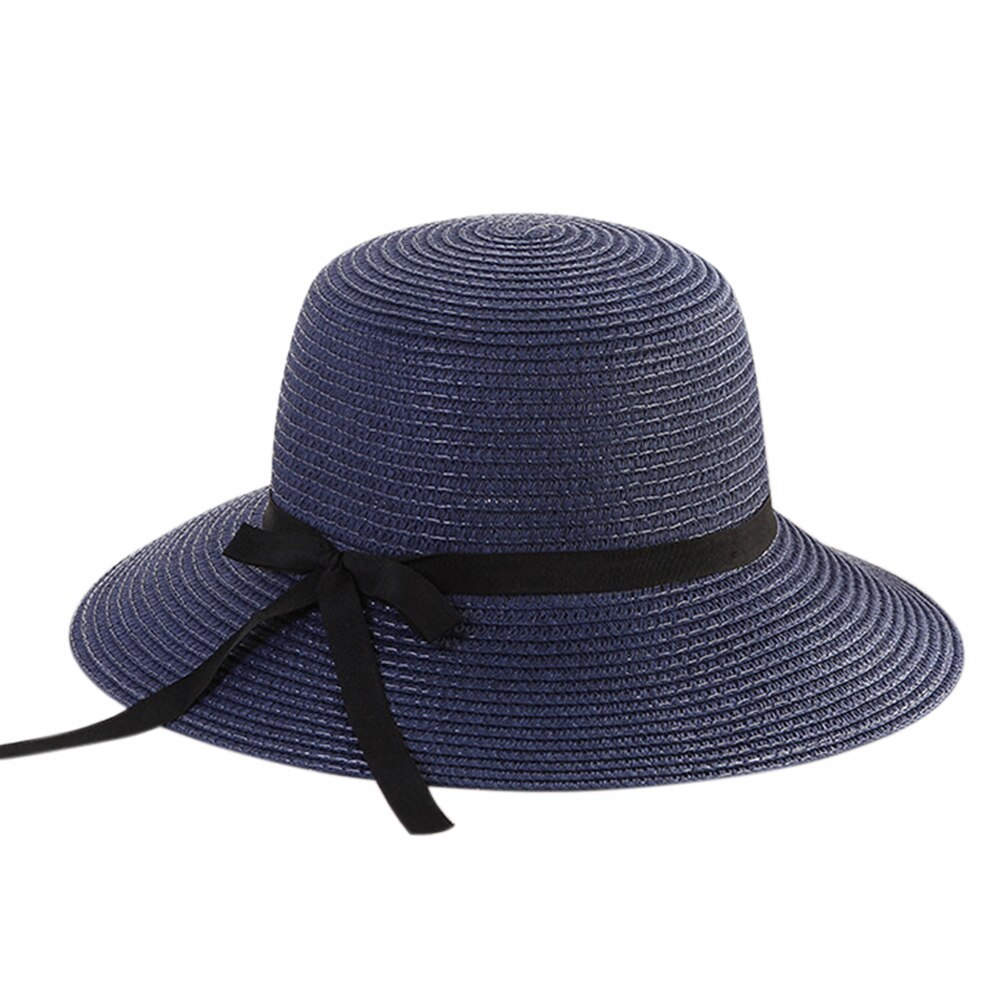 Women Travel Floppy Sun Hat Bowknot Design Summer Foldable Beach Ladies Straw Ad