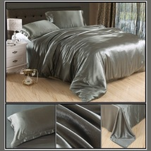 Luxury Silver Gray Mulberry Silk Satin Top Sheet Duvet w/ 2 Pillow Cases 4 Pc Be