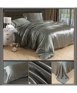 Luxury Silver Gray Mulberry Silk Satin Top Sheet Duvet w/ 2 Pillow Cases... - $56.50 CAD+
