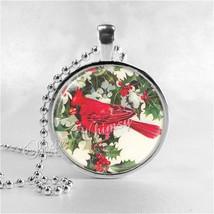 CARDINAL Pendant Necklace, Cardinal Bird Jewelry, Red Bird, Glass Photo ... - €10,50 EUR