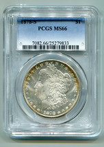 1878-S MORGAN SILVER DOLLAR PCGS MS66 NICE ORIGINAL COIN PREMIUM QUALITY PQ - $795.00