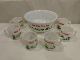 7 pc Egg Nog Punch Bowl Cup Set VTG Hazel Atlas Milk Glass Currier & Ives  - £42.42 GBP