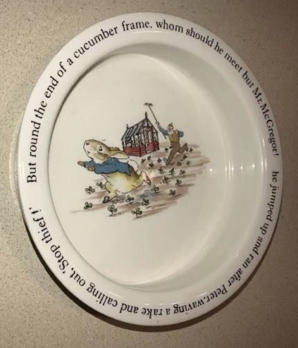 Wedgwood Peter Rabbit Porridge Child Bowl Beatrix Potter Mr McGregor's Garden