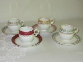 Set of 4 Limoges BDL China Vtg Espresso Demitasse & Saucer 4 colors Gold... - $128.69